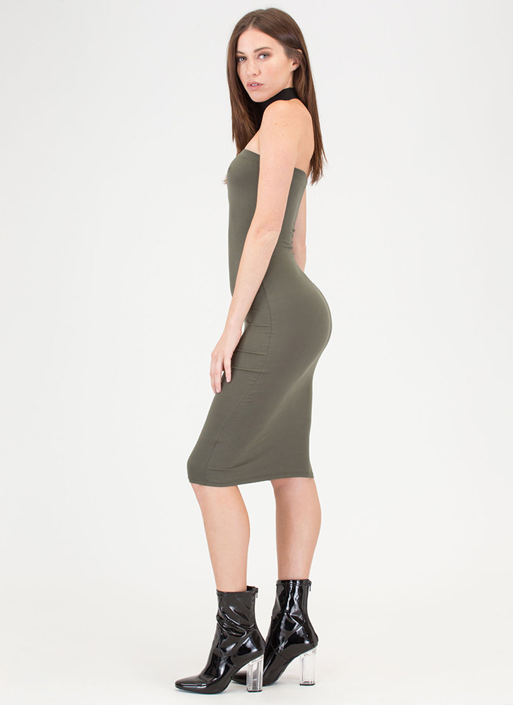 Riding The Tube Strapless Midi Dress OLIVE