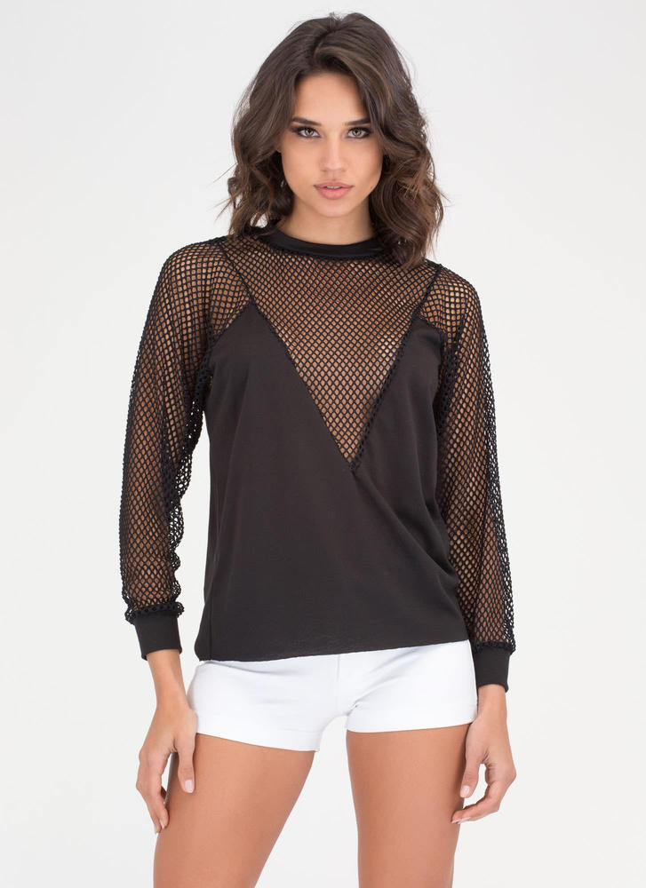 Sneak Peaks Plunging Netted Sweatshirt BLACK
