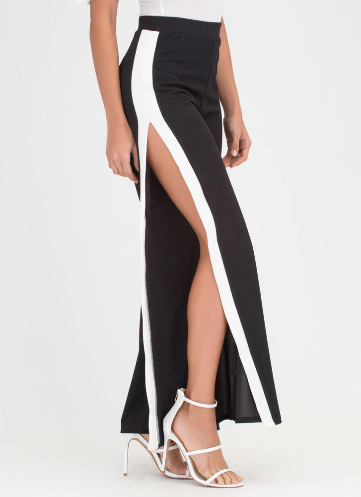Time To Split Colorblock Palazzo Pants BLACKWHITE