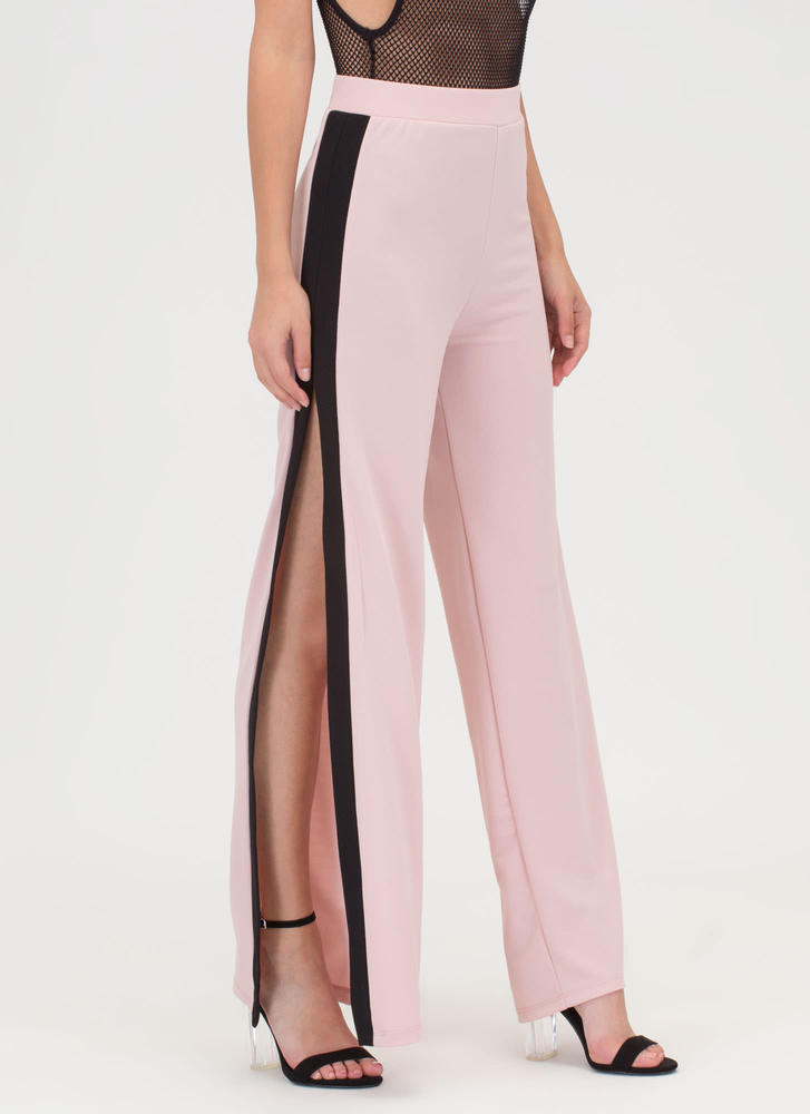 Time To Split Colorblock Palazzo Pants BLUSHBLACK