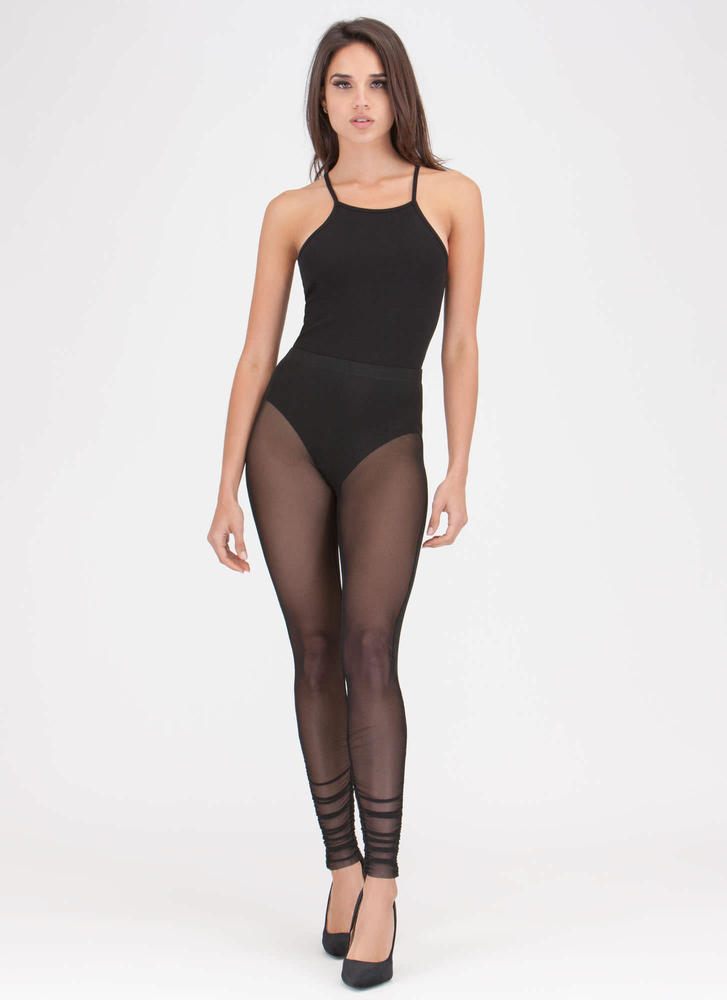 Sheer For It Ruched Mesh Leggings