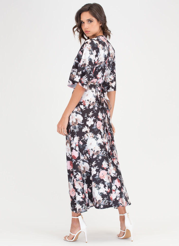 Bloom With A View Floral Wrap Dress BLACK
