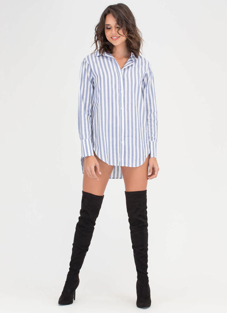 Stripe It Collared Button-Up Shirt Dress BLUEWHITE