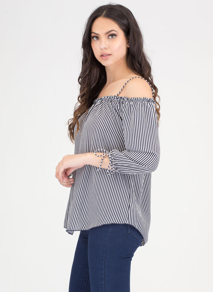 Breezy Babe Striped Off-Shoulder Top NAVYWHITE