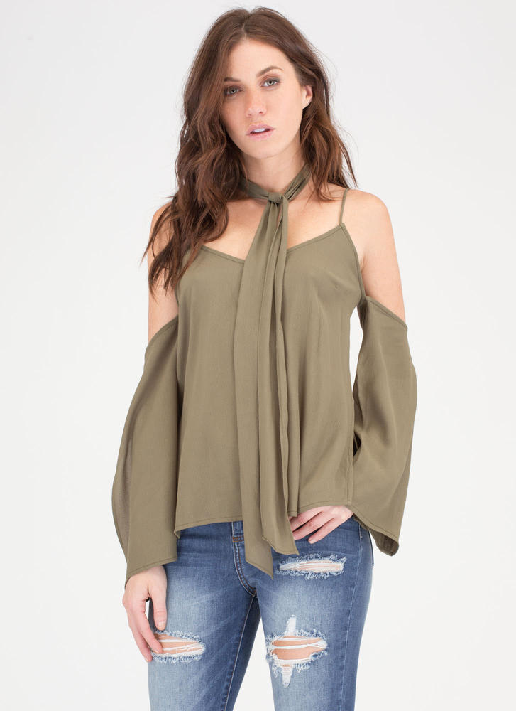 Neck Tie Flowy Cold Shoulder Top