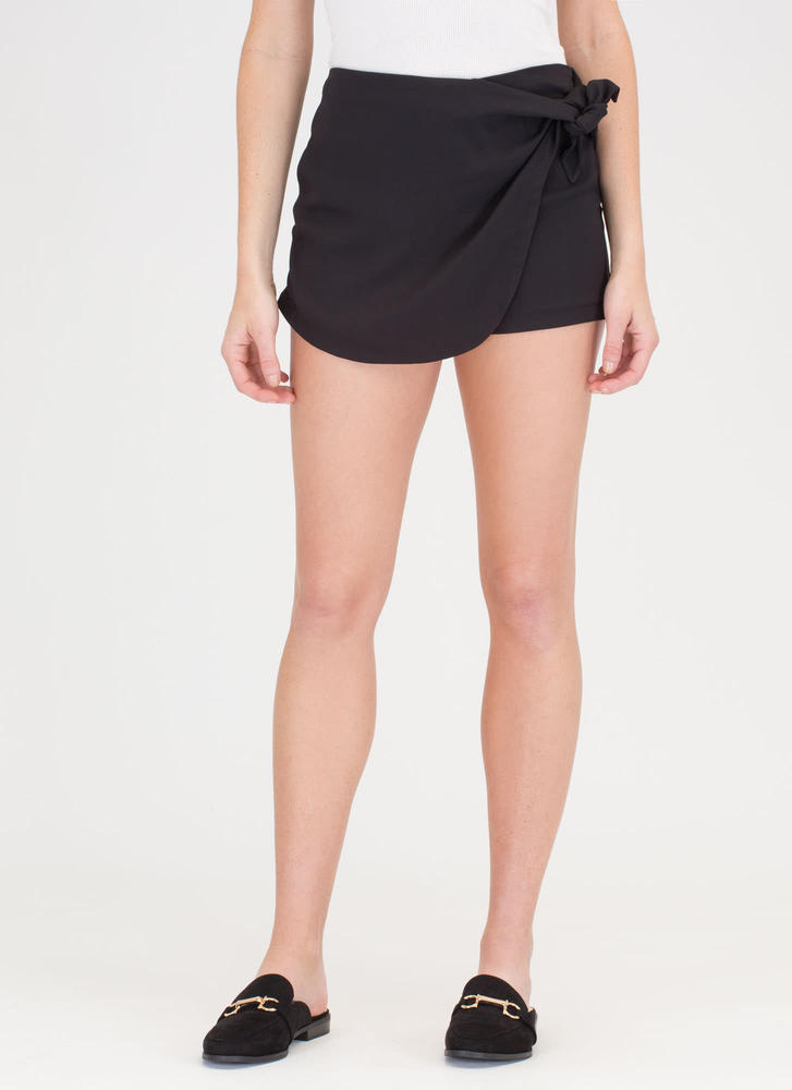 When 2 Become 1 Knotted Skort BLACK (Final Sale)