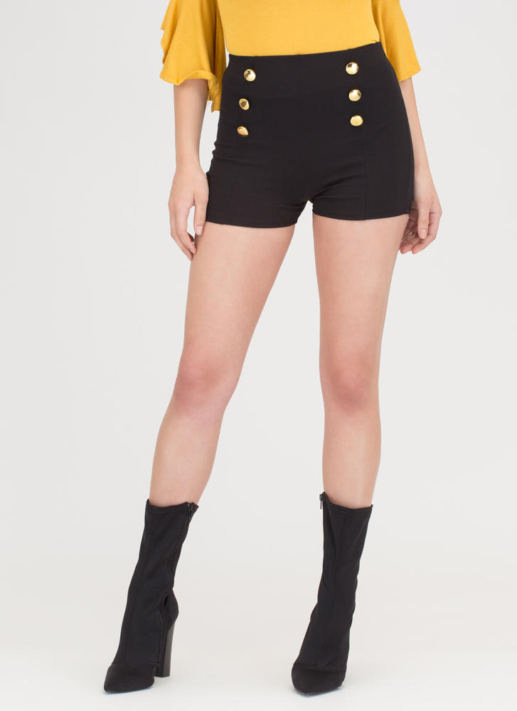 Let's Get Nautical Buttoned Shorts BLACK