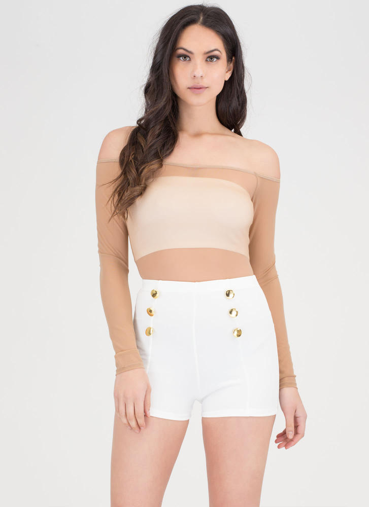 Let's Get Nautical Buttoned Shorts WHITE