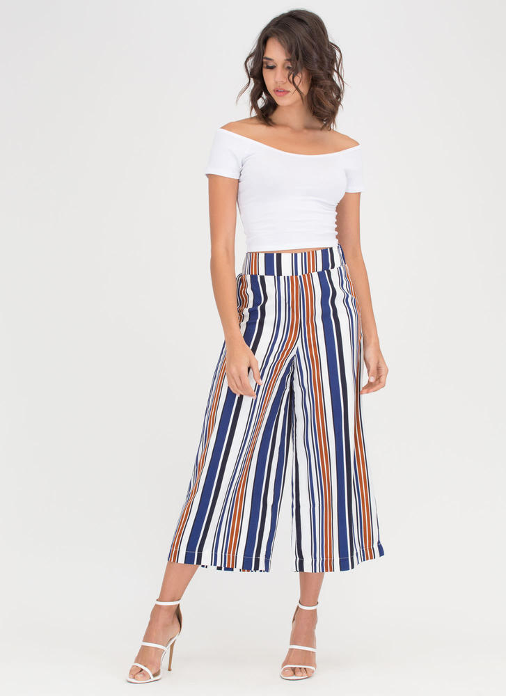 Stripe For More Cropped Palazzo Pants