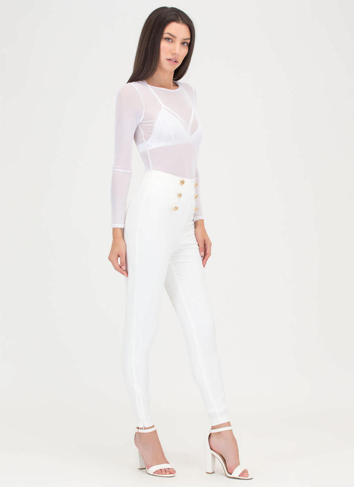 Sail Yeah Buttoned Skinny Pants WHITE