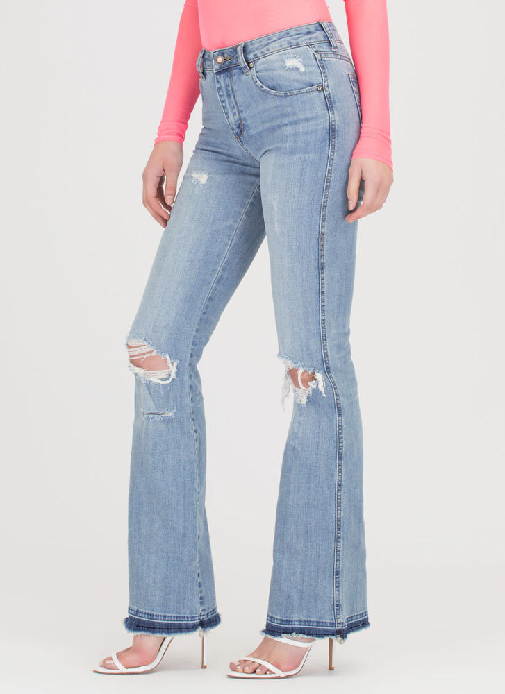 Flare And Impartial Distressed Jeans LTBLUE (Final Sale)