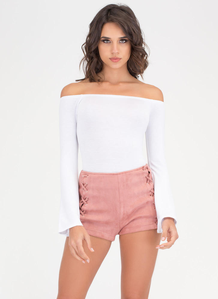 X Marks The Lace-Up Faux Suede Shorts