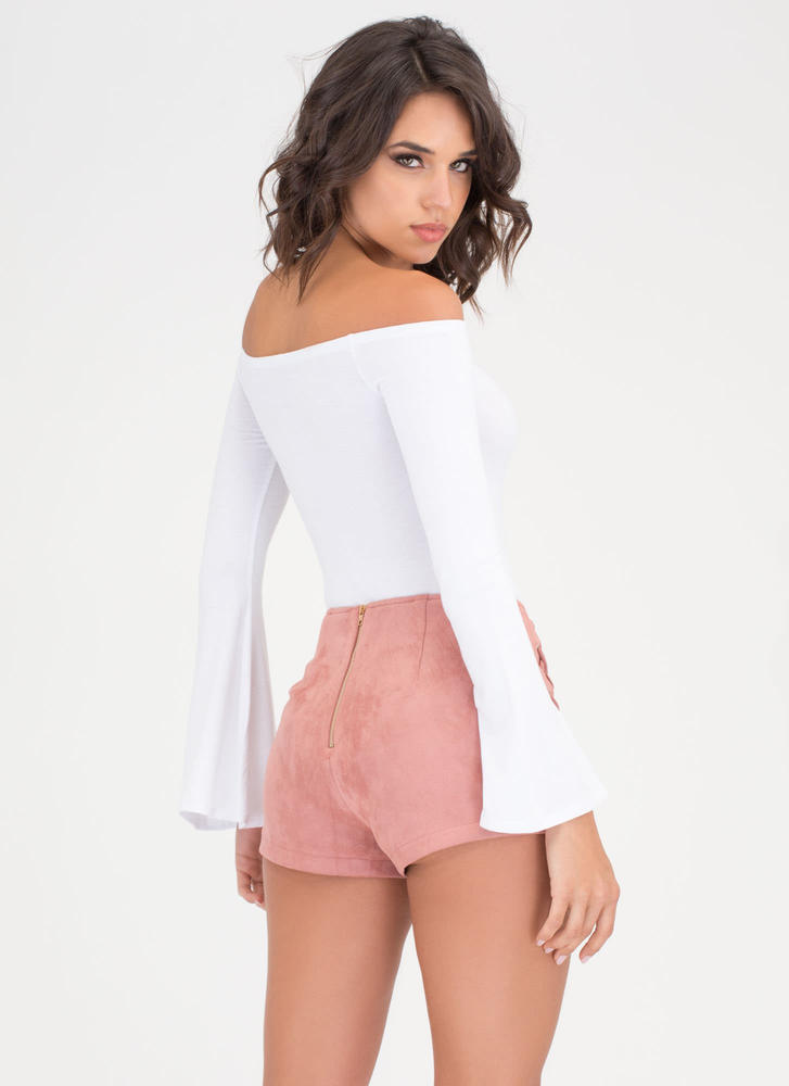 X Marks The Lace-Up Faux Suede Shorts BLUSH