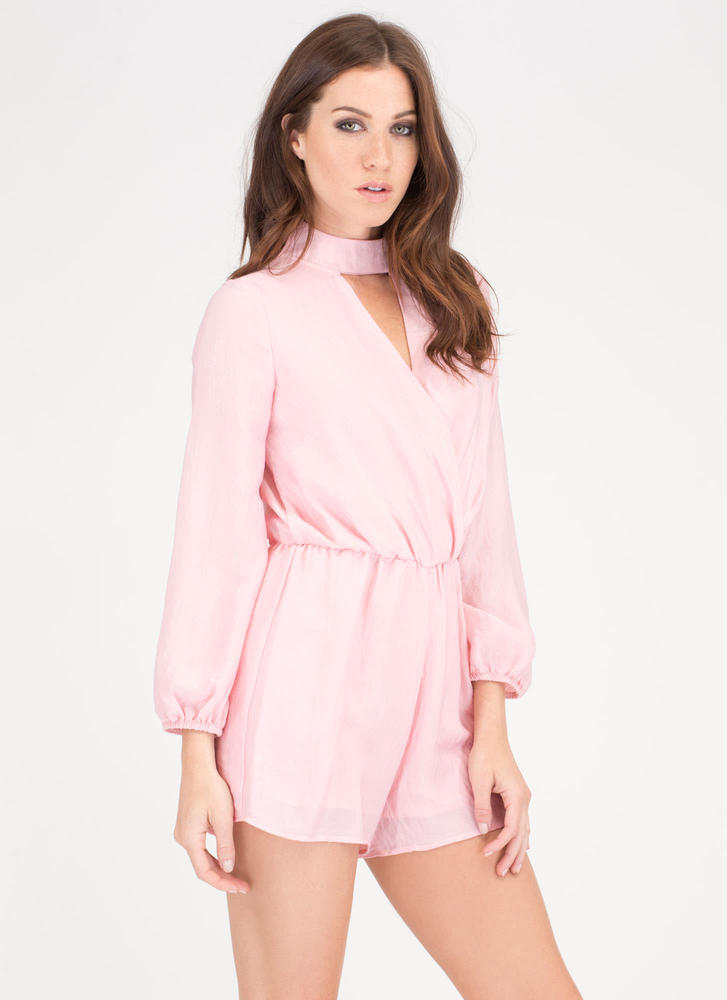 Silky Way Collared Surplice Romper PINK
