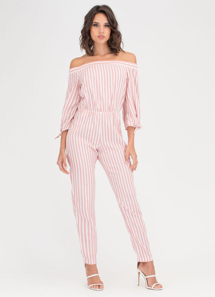 In Line Striped Off-Shoulder Jumpsuit