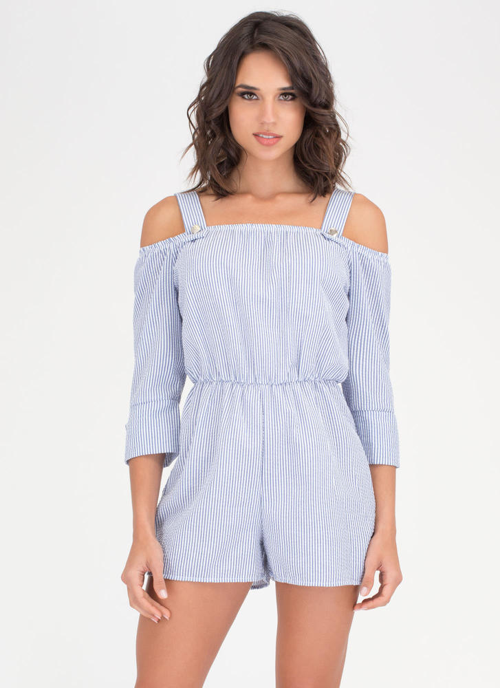 Perfect Play Striped Cold Shoulder Romper