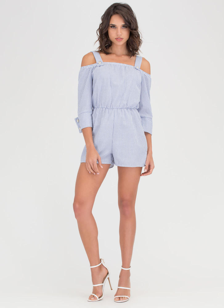 Perfect Play Striped Cold Shoulder Romper BLUE