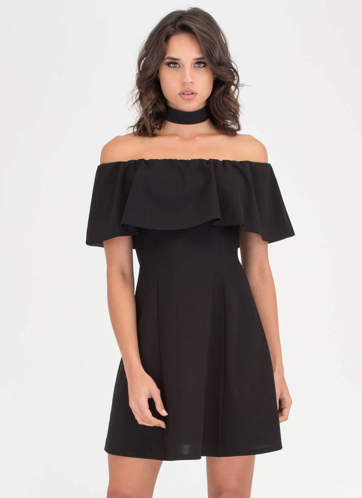 Twirl It Ruffled Off-Shoulder Dress