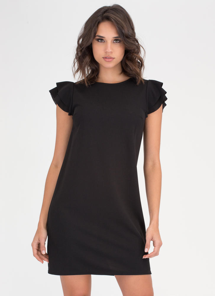 Frill Seeker Ruffle Sleeve Shift Dress