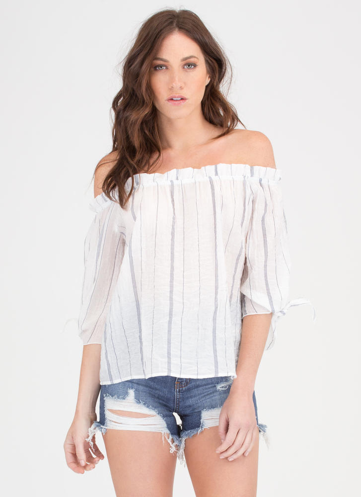 New Wrinkle Striped Off-Shoulder Top