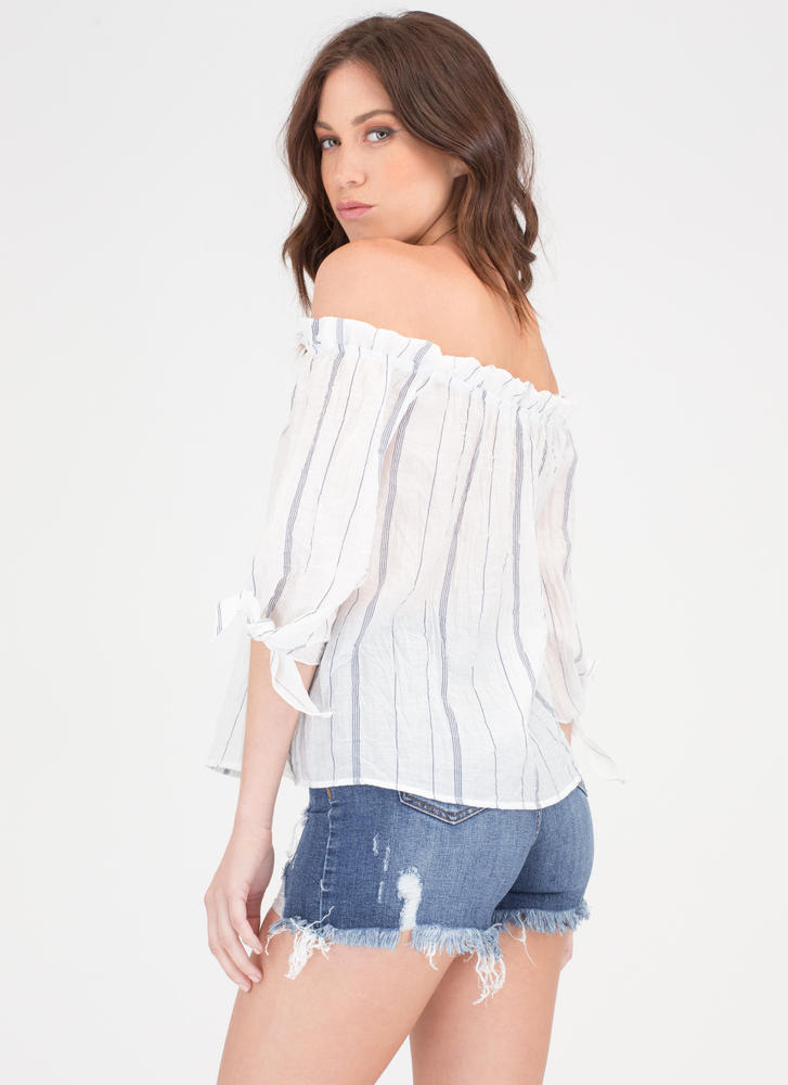 New Wrinkle Striped Off-Shoulder Top WHITE