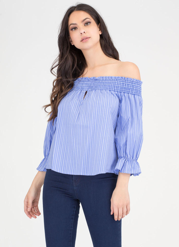 Bow Me Away Striped Off-Shoulder Top