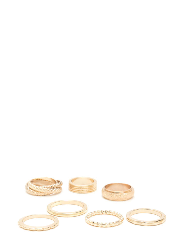 Match Made In 7 Textured Ring Set
