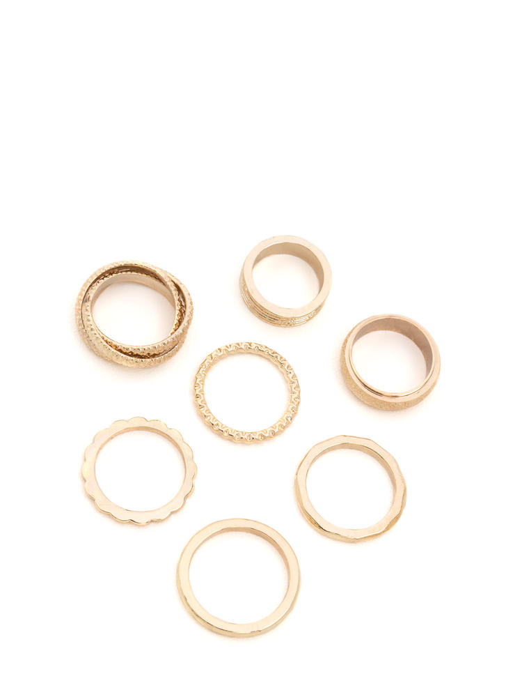 Match Made In 7 Textured Ring Set GOLD