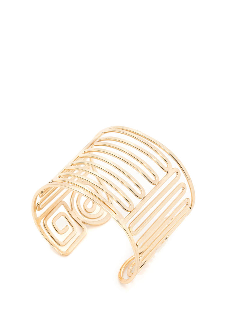 A-Maze Tribal-Inspired Cut-Out Cuff GOLD