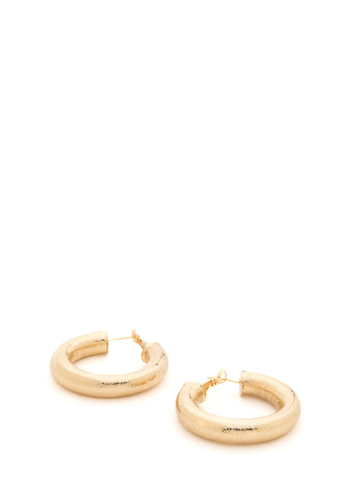 Chunky Town Thick Hoop Earrings GOLD