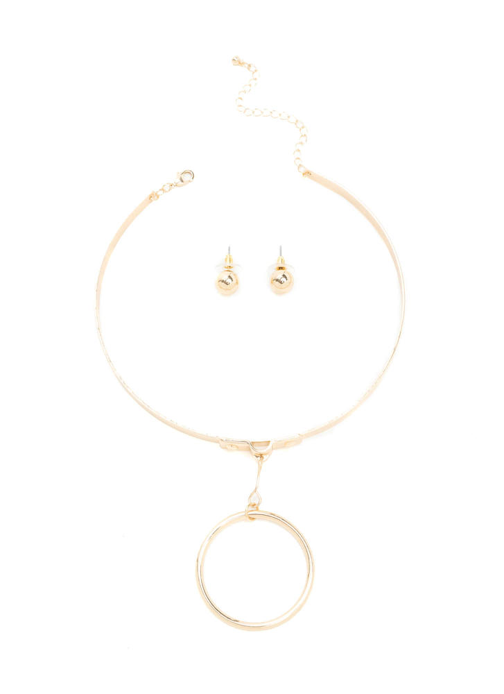 Ring In The New Hoop Charm Choker Set GOLD