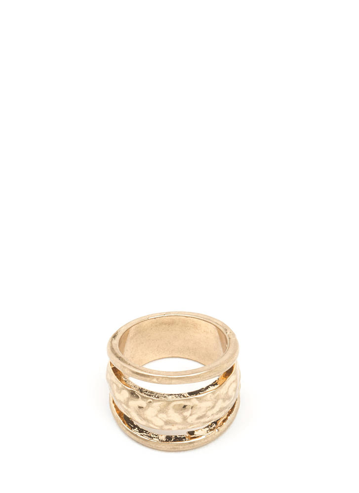 Level Three Hammered Cut-Out Ring GOLD
