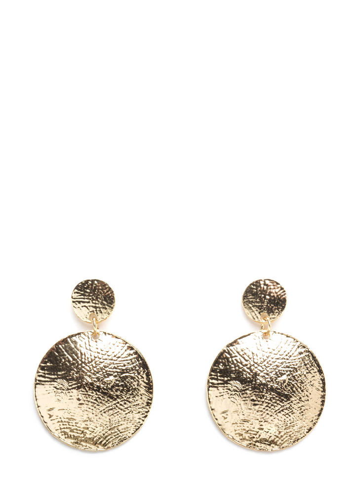 Two-Disc Set Flat Textured Earrings GOLD