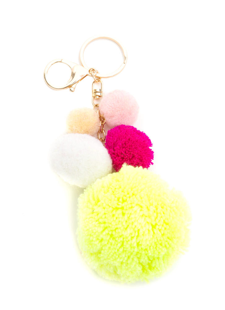 Balls Of Furry Pom-Pom Keychain