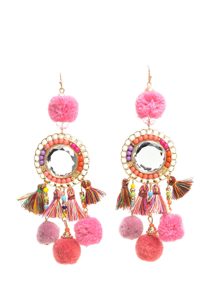 Bead It Tassel And Pom-Pom Earrings