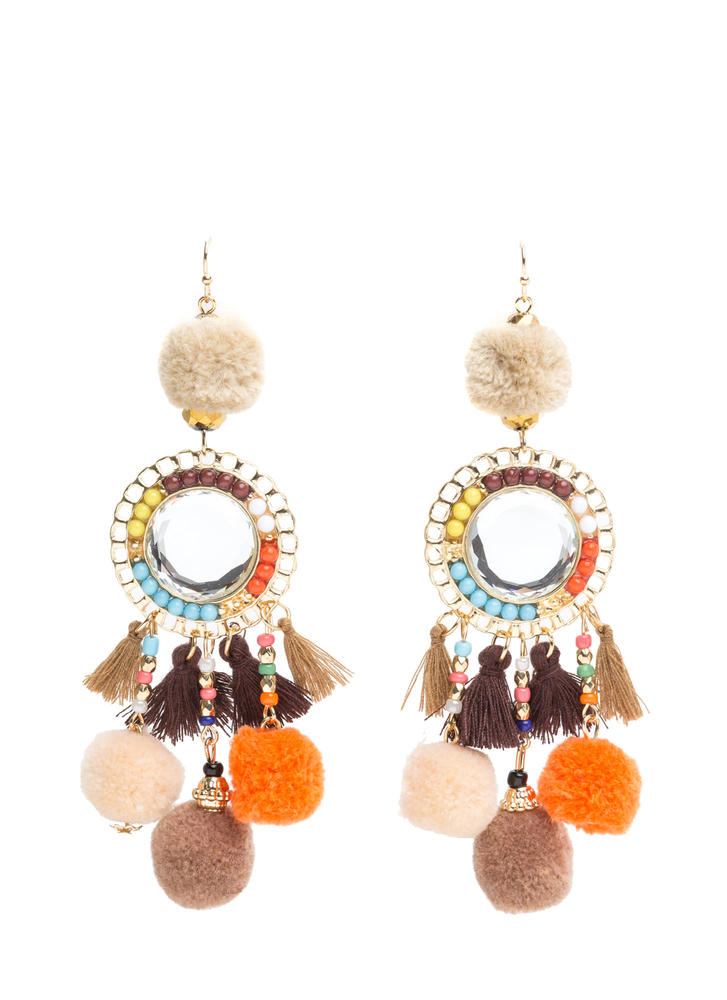 Bead It Tassel And Pom-Pom Earrings TAUPE