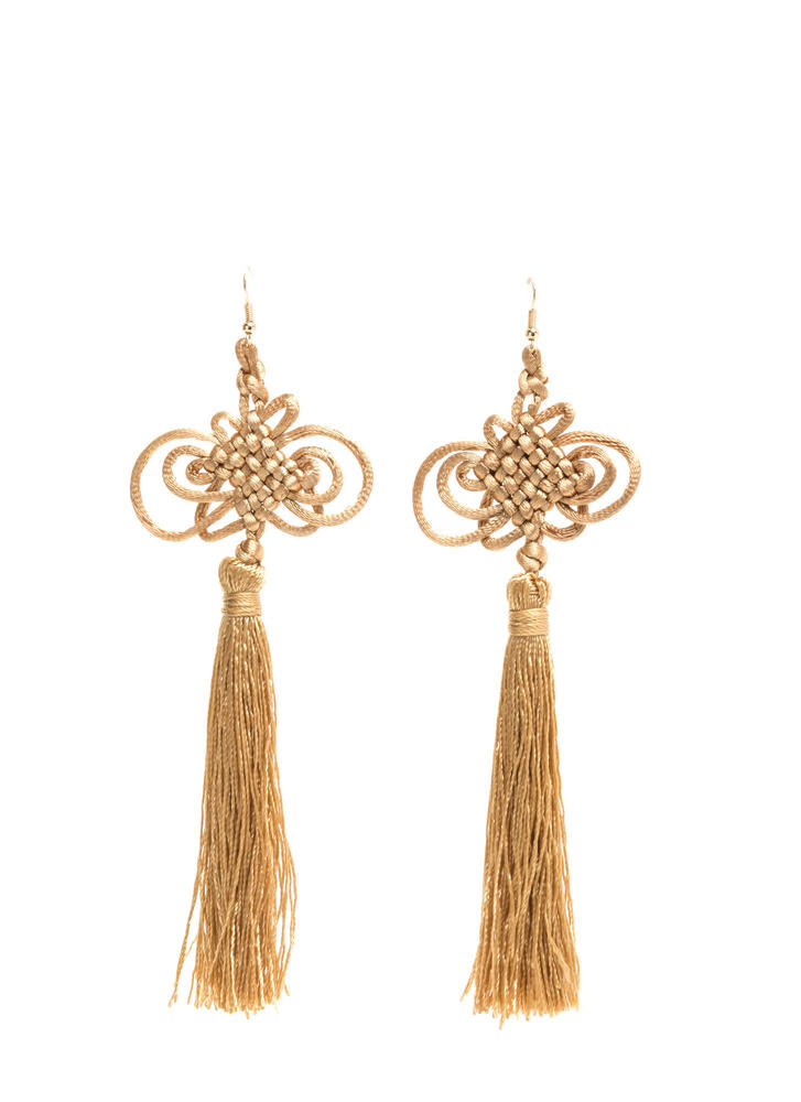 Knot Gonna Happen Thread Tassel Earrings