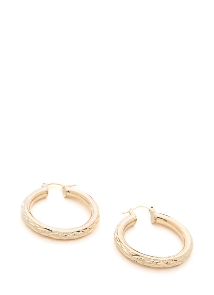 Rings True Thick Hoop Earrings GOLD