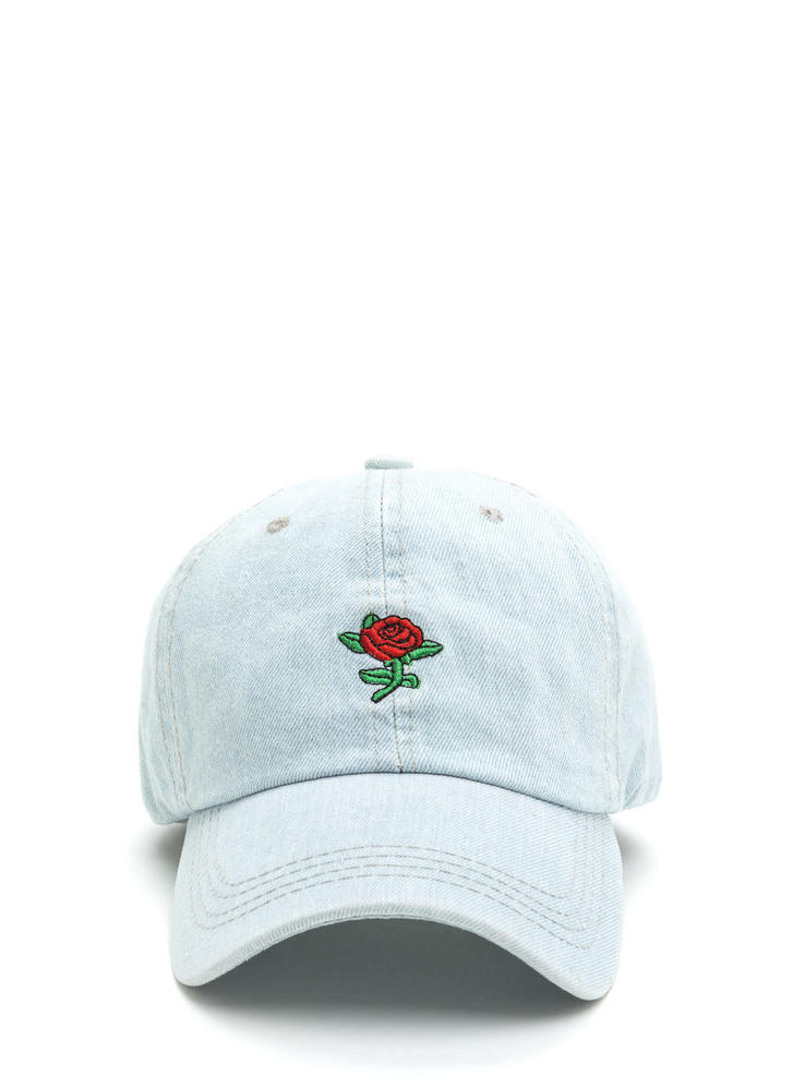 Rosy Outlook Embroidered Denim Cap LTBLUE