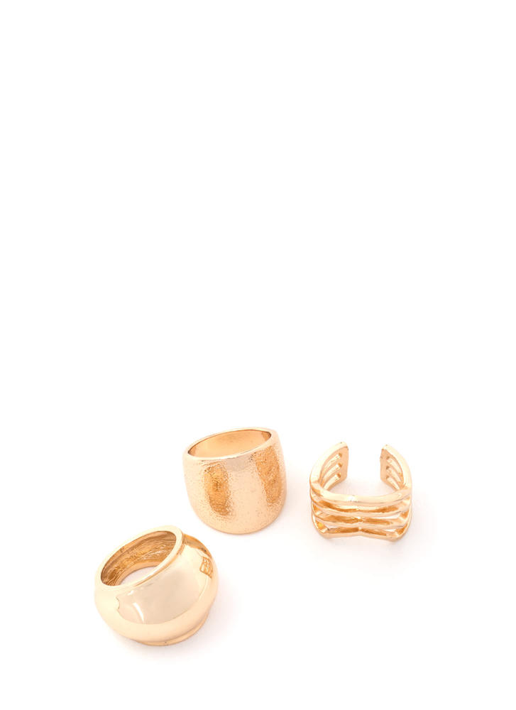 So Well-Rounded Chunky Ring Trio GOLD