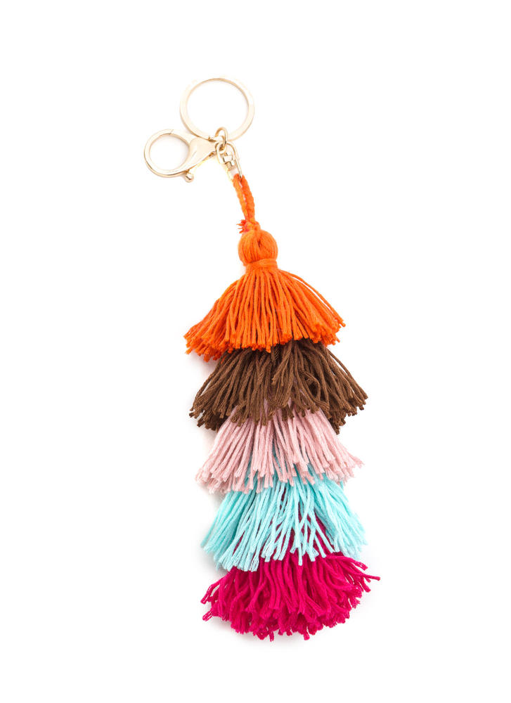 New Threads Fringe Tassel Keychain PINKGOLD