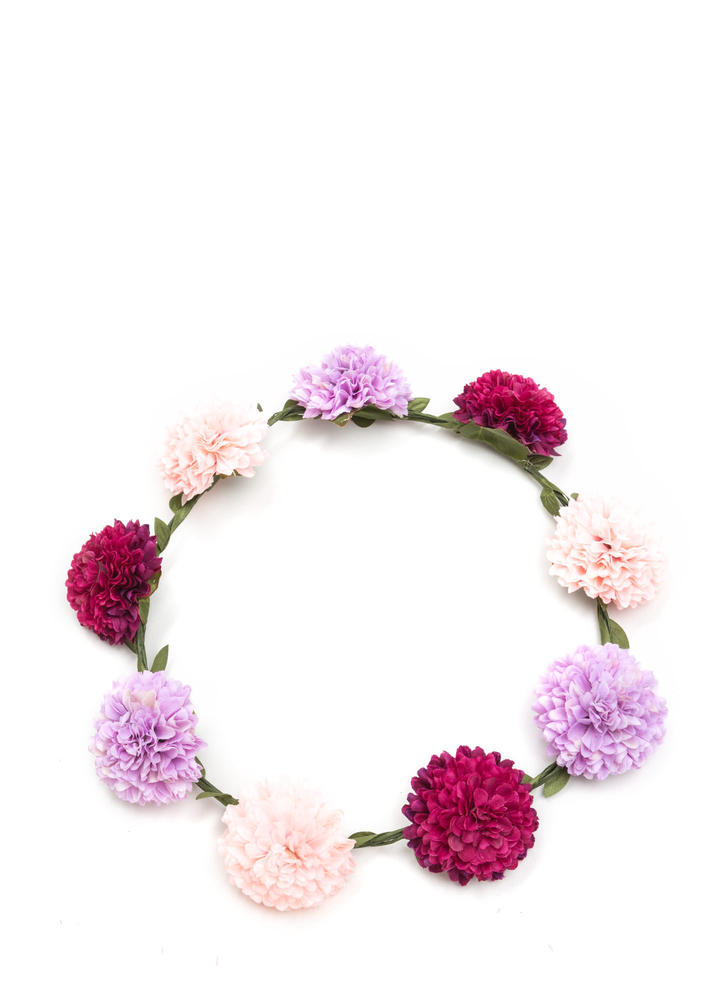 In Carnation Faux Flower Crown
