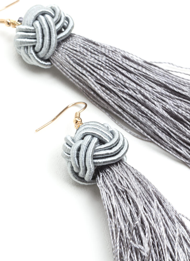 Having A Ball Knotted Tassel Earrings GREYGOLD