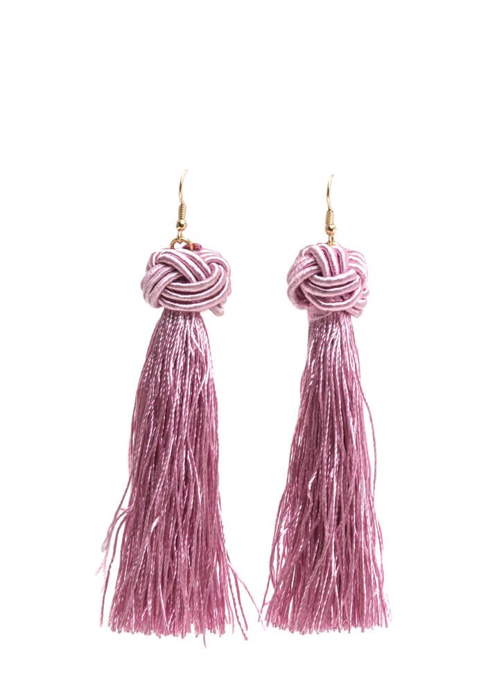 Having A Ball Knotted Tassel Earrings MAUVEGOLD