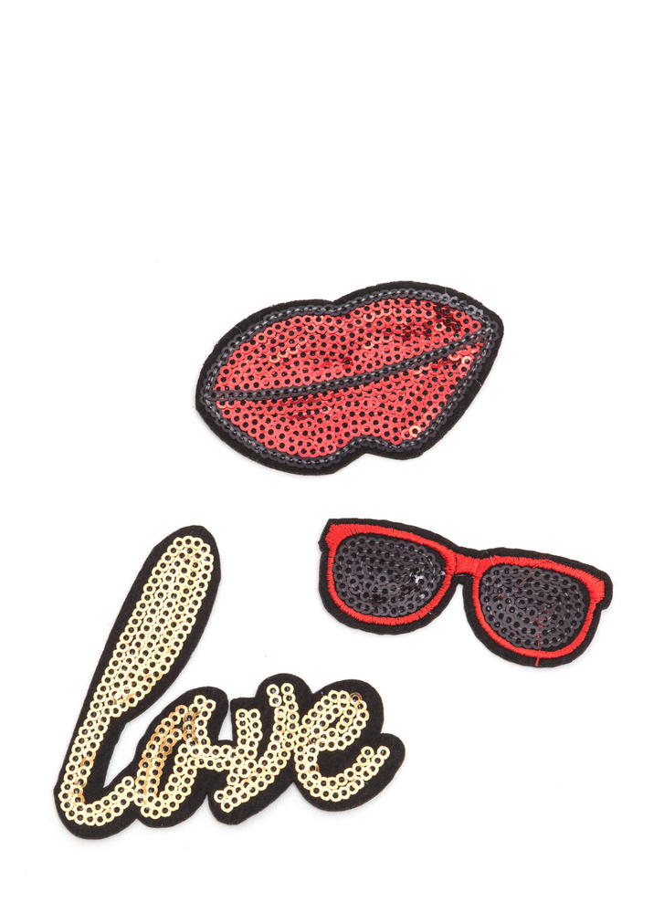 Love Life Sequined Patch Trio MULTI
