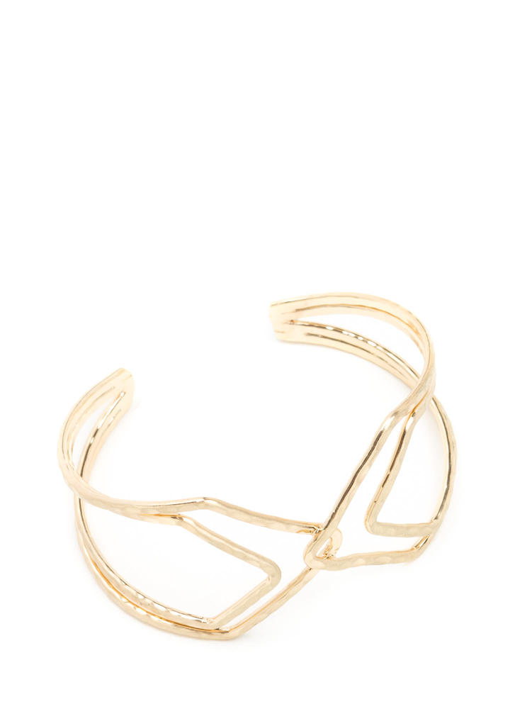 X Woman Hammered Cut-Out Cuff