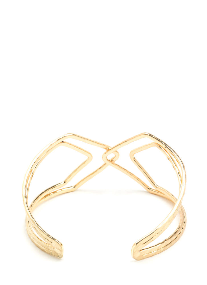 X Woman Hammered Cut-Out Cuff GOLD