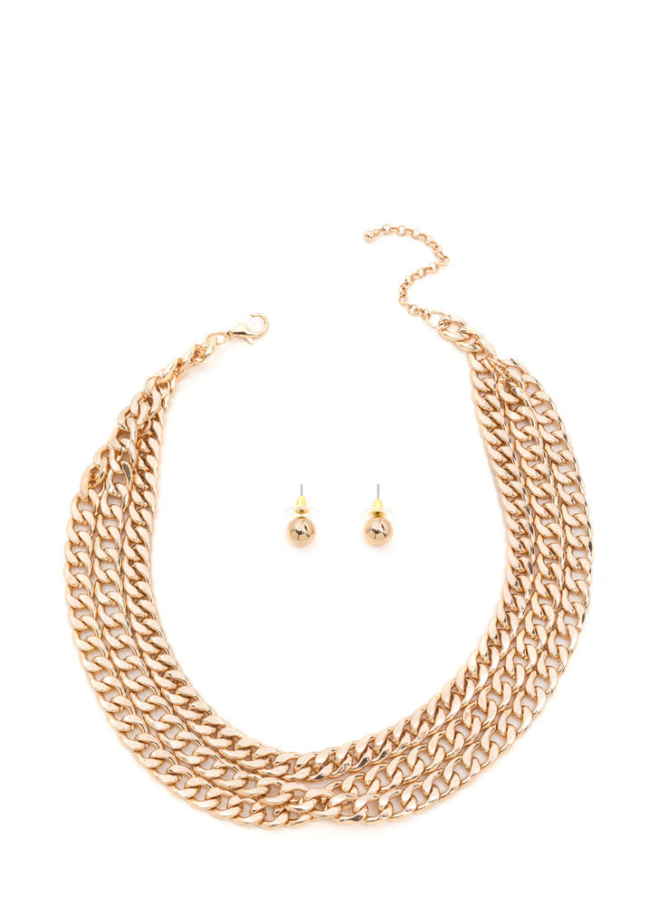 Triple Play Curb Chain Necklace Set