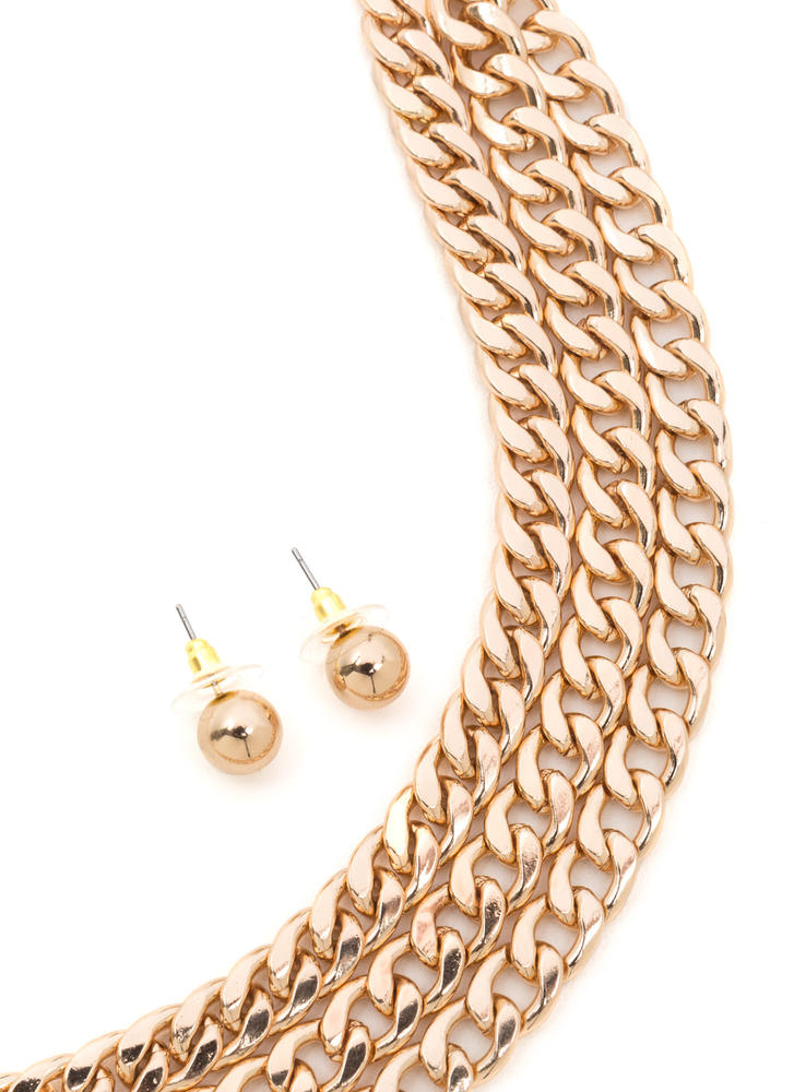 Triple Play Curb Chain Necklace Set GOLD