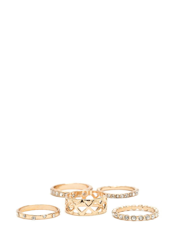 Diamond Grades Jeweled Five Ring Set GOLD